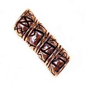 Germanic beard / hair bead with Rune inscription, bronze