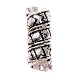 barba germánica / perlas cabello con runa de inscripción, plateado