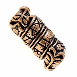 Beard pärla med runor och varghuvud, brons