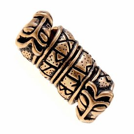 Skæg perle med Runes og ulv hoveder, bronze