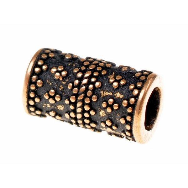 Cylindrisk granuleras Viking skägg vulst, brons