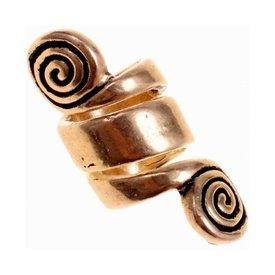 cordón de la barba celta con espirales, bronce