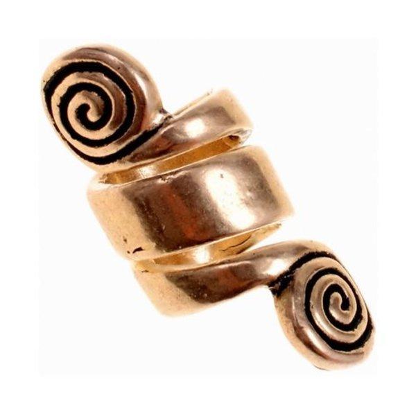 Celtic beard bead with spirals, bronze