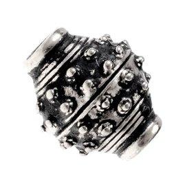 9th-10th century Viking beard bead, silvered bronze