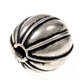 Melon bead, silvered