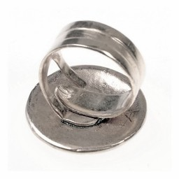 Celtic ring with knot motif, silvered bronze