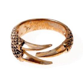 Ring drake klo, brons