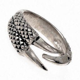 Ring dragon claw, silvered