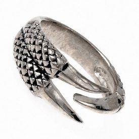 Ring met drakenklauw, verzilverd