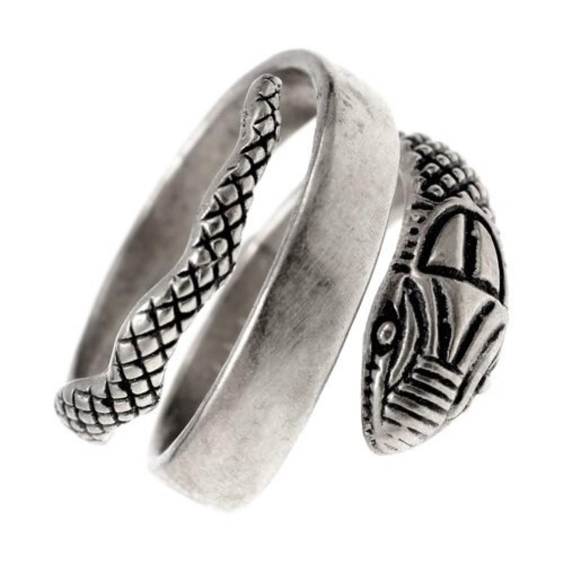 anillo de serpiente romana, bronce plateado