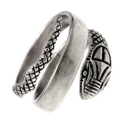 Roman snake ring, silvered bronze
