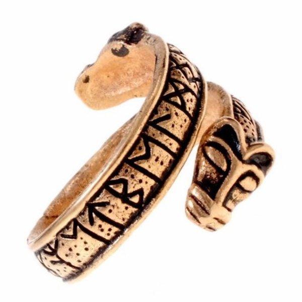 Rung ring med ulv hoveder, bronze