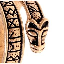 anillo de peldaño con cabezas de lobo, bronce