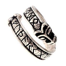 Szczebel pierścień z głowicami Wolf, srebrnej brązu