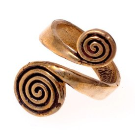 Celtic ring with spirals, bronze