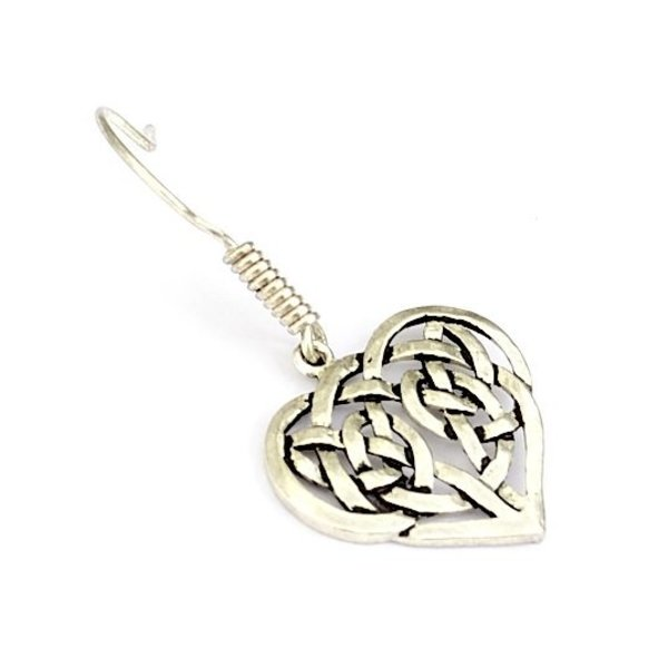 Earrings with Celtic heart, silvered