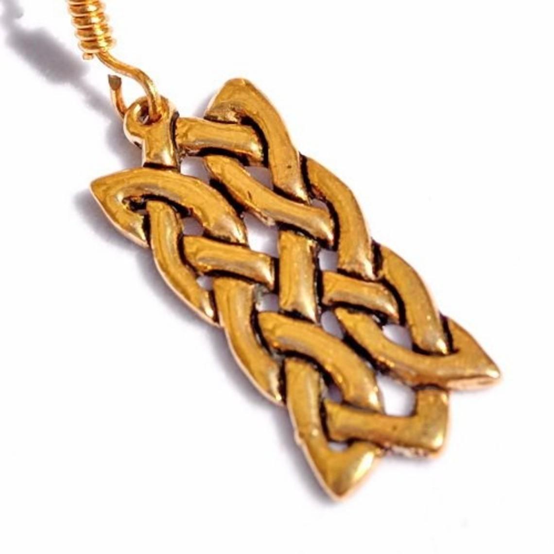 Pendientes celta motivo nudo rectangular, bronce