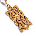 Earrings Celtic rectangular knot motif, bronze
