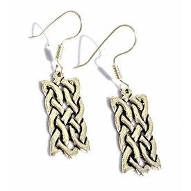Boucles d'oreilles motif celtique noeud rectangulaire, bronze argenté