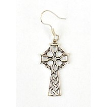 Earrings with Celtic cross, silvered