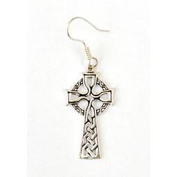 Kolczyki z celtyckim krzyżem, posrebrzane