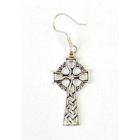 Oorbellen met Keltisch kruis, verzilverd