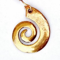 Celtic earrings with spiral, bronze