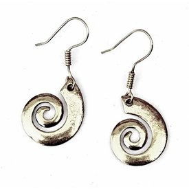 Celtic earrings with spiral, silvered