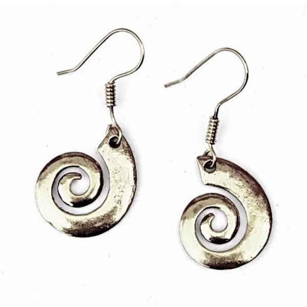Celtic øreringe med spiral, forsølvede