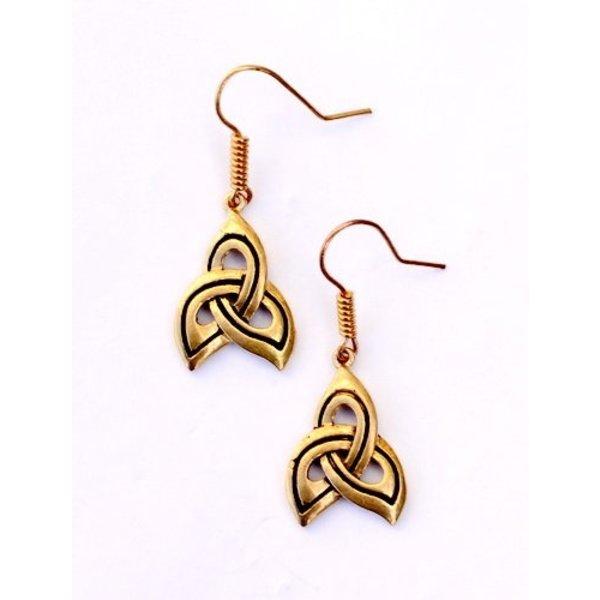 Keltische oorbellen triskelion, brons
