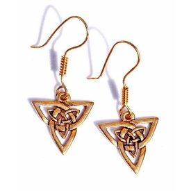 Keltische oorbellen triquetra, brons
