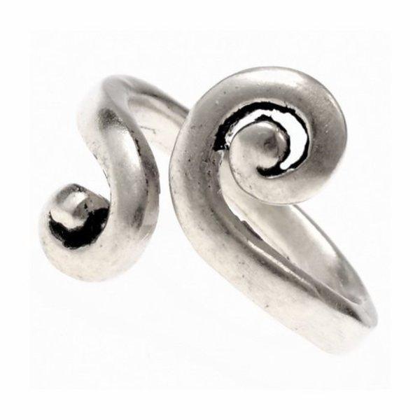 Celtic ring med stiliserede spiral motiv, forsølvede