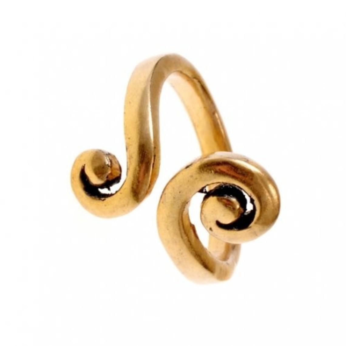 anillo celta con motivo espiral estilizado, bronce