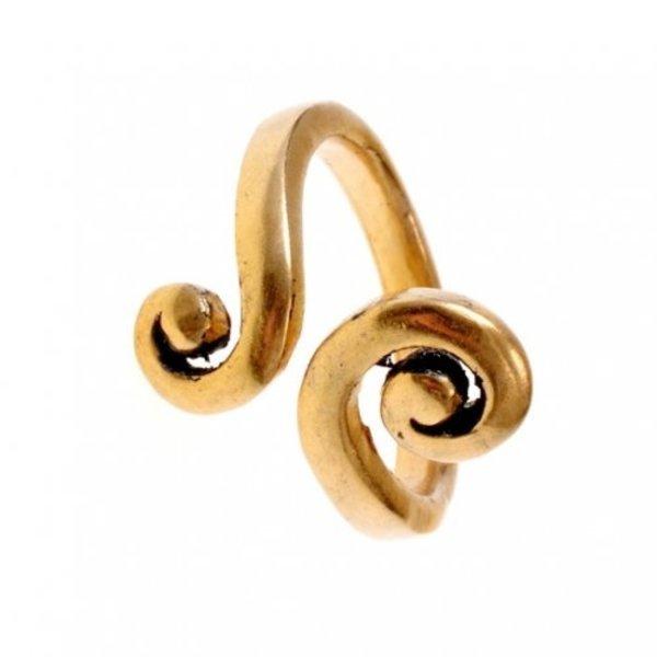 Celtic ring med stiliserede spiral motiv, bronze