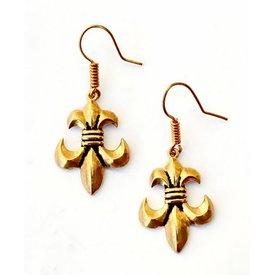 Boucles d'oreilles fleur de lys, bronze