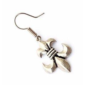 Boucles d'oreilles fleur de lys, argentait