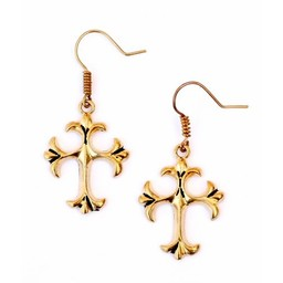 Earrings with gothic cross, bronze