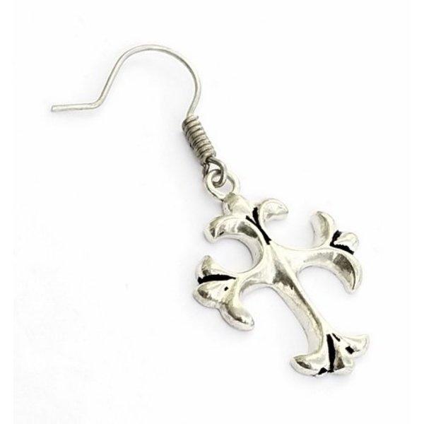 Øreringe med gotisk kors, forsølvede
