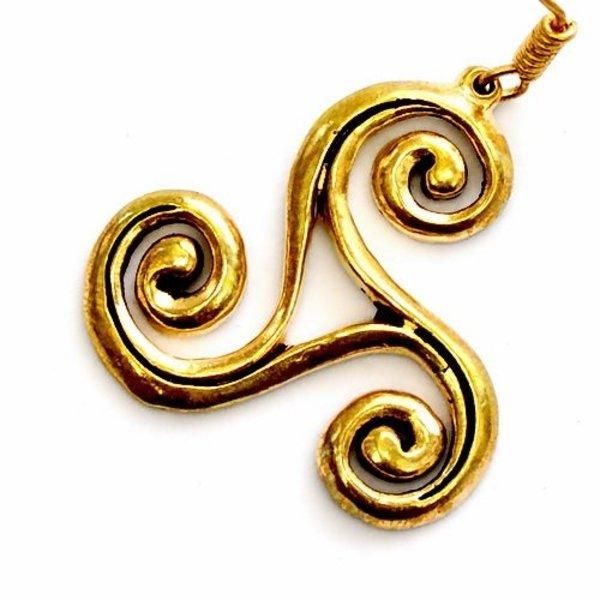 Celtic kolczyki trisquelion L, brąz