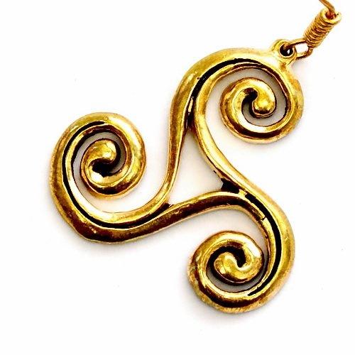 Keltische trisquelionoorbellen groot, brons