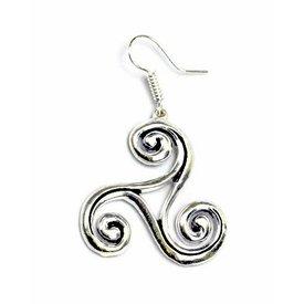 Celtic trisquelion örhängen L, försilvrade