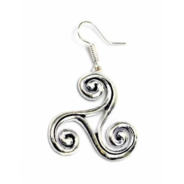 Celtic trisquelion øreringe L, forsølvede