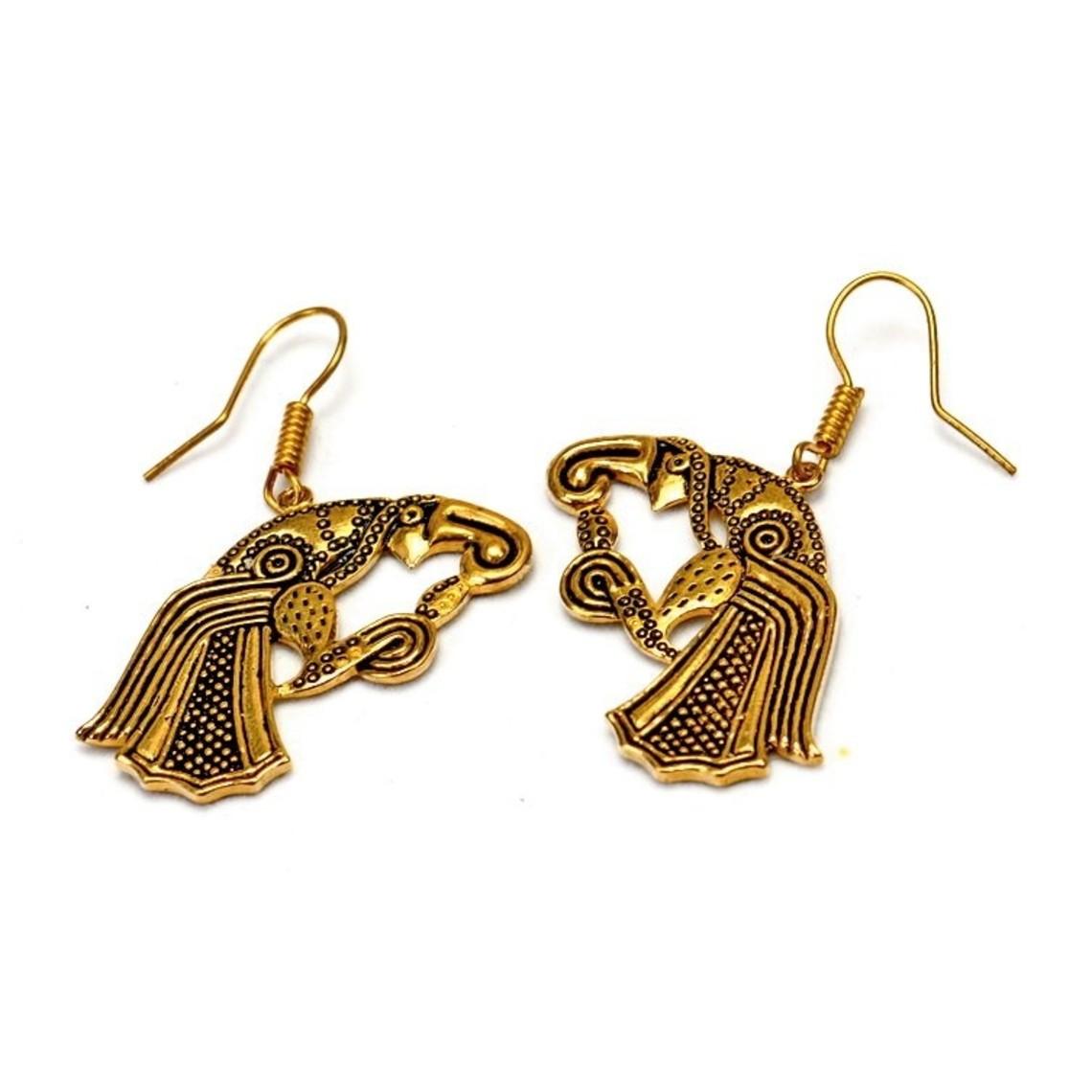 Boucles d'oreilles corbeau germanique, bronze