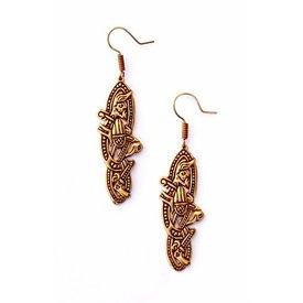 Vieux irlandais boucles d'oreilles, bronze