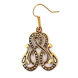 Viking örhängen Midgård orm, brons