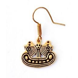 Earrings Bornholm Viking ship, bronze