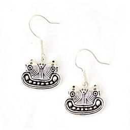 Earrings Bornholm Viking ship, silvered