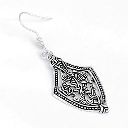 Viking earrings Borre style, silvered