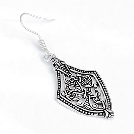 Viking earrings Borre style, silvered