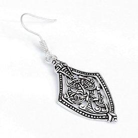 Viking pendientes estilo de Borre, plateado